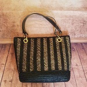 Handbags - Black & Cream Straw Tote